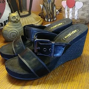 Skechers buckle strap wedge shoes
